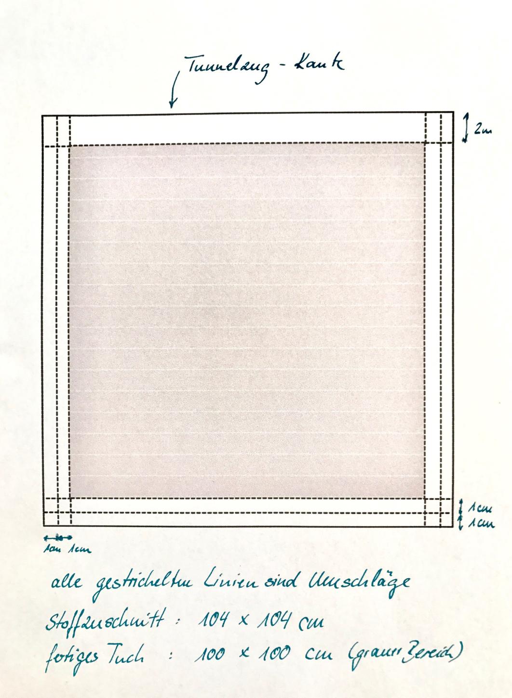 Skizze des Zuschnitts